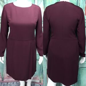 Dana Buchman Womens Silk Dress 16 Maroon Red Zip